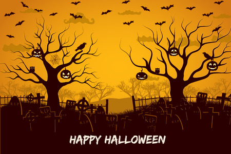 Illustration pour Happy halloween composition with birds and lanterns at trees cemetery and flying bats at sunset vector illustration - image libre de droit