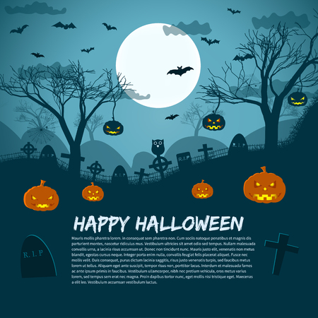 Ilustración de Happy Halloween background with lunar sky cemetery crosses pumpkins and bats flat vector illustration - Imagen libre de derechos