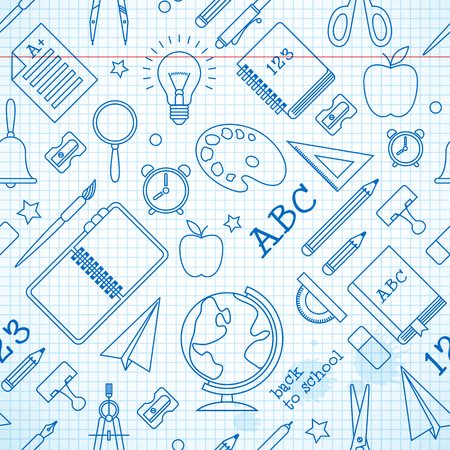 Illustration pour Education seamless pattern with school supplies on paper sheet in hand drawn style vector illustration - image libre de droit