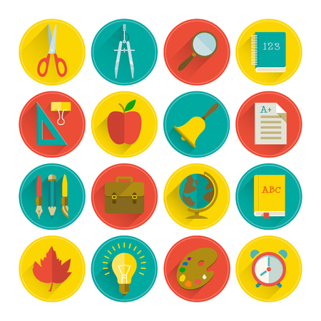 Illustration pour School supplies flat set in circles with long shadows on light background isolated vector illustration - image libre de droit