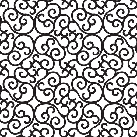 Monochrome black seamless pattern with repeating abstract structure in minimalistic style on white background vector illustration