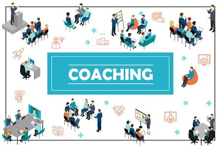 Illustration pour Isometric business training concept with public speech online conference staff coaching presentation consultation brainstorming seminar vector illustration - image libre de droit