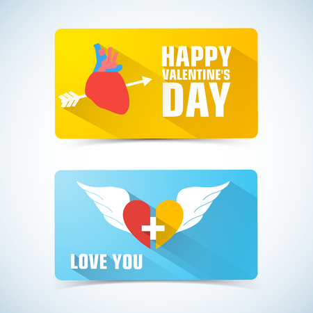 Illustration for Two horizontal valentines banner set with pierced heart on one and two half of heart descriptions vector illustration - Royalty Free Image