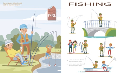 Illustration for Flat fishing template with people catch fish in lake using fishing rod and fishnet and fishers in different situations vector illustration - Royalty Free Image