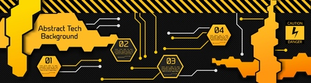 Illustration pour High tech abstract infographic concept with geometric plates four options and text on carbon fiber background vector illustration - image libre de droit