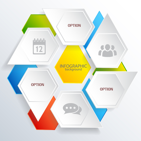 Photo pour Digital infographic web concept with gray and colorful hexagons with business icons isolated vector illustration - image libre de droit