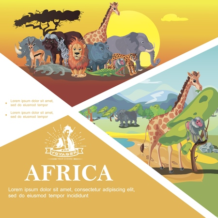 Illustration pour Cartoon Travel To Africa colorful template with african animals on savannah nature landscape vector illustration - image libre de droit