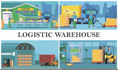 Flat warehouse logistics composition with loading of truck process storage workers transporting and calculating boxes illustration