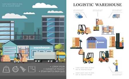 Illustration pour Flat warehouse logistics concept with truck loading process storage workers forklifts different boxes and containers vector illustration - image libre de droit