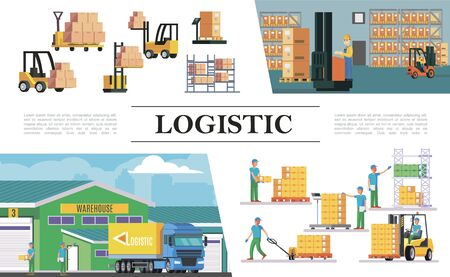 Ilustración de Flat warehouse logistics composition with truck forklifts storage workers boxes loading weighing lifting and transportation processes vector illustration - Imagen libre de derechos