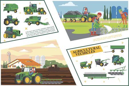Illustration pour Flat agriculture and farming composition - image libre de droit