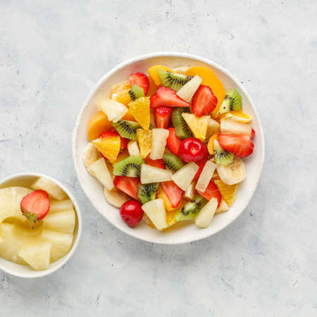 Photo for Fresh chopped fruit salad in a bowl. - Royalty Free Image