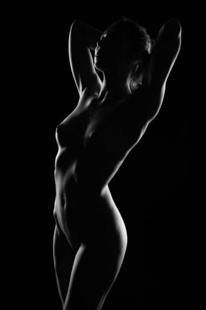Photo for the contours of a gorgeous Nude female body with beautiful Breasts on a dark background. Black and white erotic photography - Royalty Free Image