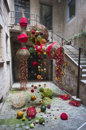 Floral Artworks at Girona Flower Festival Tiempo de flores. Contemporary floristic art in ancient architecture. Wedding decoration.