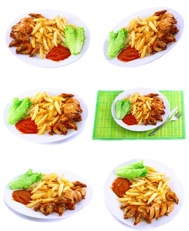 Collection (set) of deep-fried potatoes with fry shrimps and lettuce. Isolated over white background