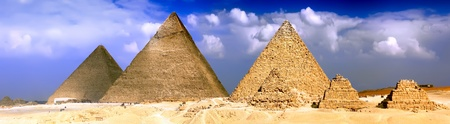 Great Pyramids located in Giza the pyramid of Pharaoh Khufu Khafre and Menkaure. Egypt. P