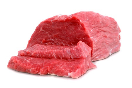 Cut of  beef steak on white. Isolated.