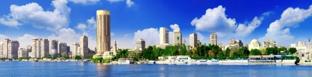 Panorama on Cairo seafront of Nile River. Cairo Egypt.