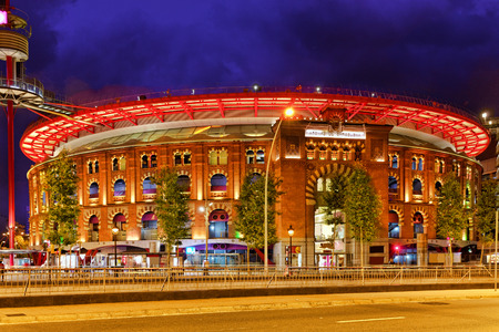 Old Arena building in Barcelona, Catalonia, Spain. Night view.