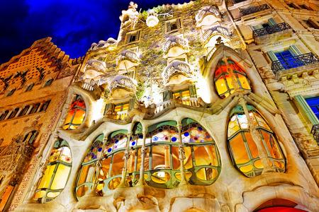 Night outdoor view  Gaudi's  creation-house Casa Batlo. Barcelona.