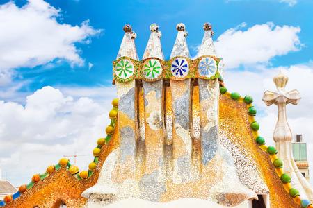 Roof, housetop  Gaudi's  creation-house Casa Batlo.Barcelona