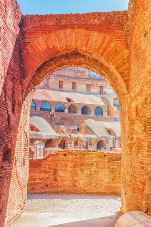 ROME, ITALY - MAY 08, 2017 :Inside the amphitheater of Coliseum in Rome- one of wonders of the world  in the morning time.