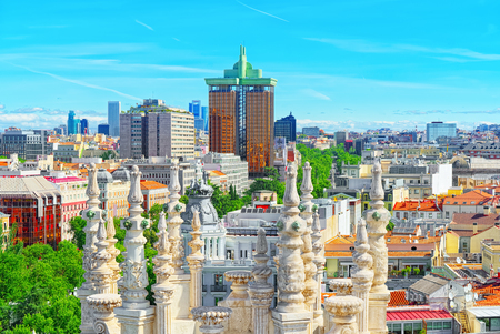 Panoramic view from above on the capital of Spain- the city of Madrid. One of the most beautiful cities in the world.