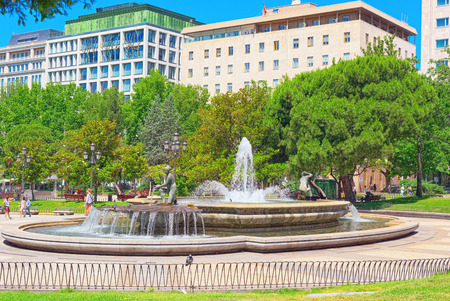 Madrid, Spain - June 05, 2017 : Spain Square (Plaza de Espana)  is a large square, a popular tourist destination located in central Madrid, Spain at the western end of the Gran Via.