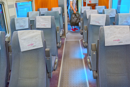 Madrid, Spain - June 08, 2017 : Interior of modern hi-speed passenger train of Spanish railways company-Renfe, on Madrid railways station Puerta de Atocha.