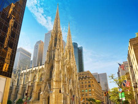New York, USA- August 14, 2017: Cathedral of St. Patrick is a decorated Neo-Gothic-style Roman Catholic cathedral church in the United States.