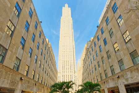 New York, USA- August 14, 2017: Rockefeller Center is a large complex consisting of 19 commercial buildings covering 22 acres between 48th and 51st Streets.