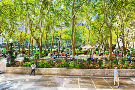 New York, USA- August 14, 2017: Bryant Park, Manhattan. Public park located in the New York City borough of Manhattan.