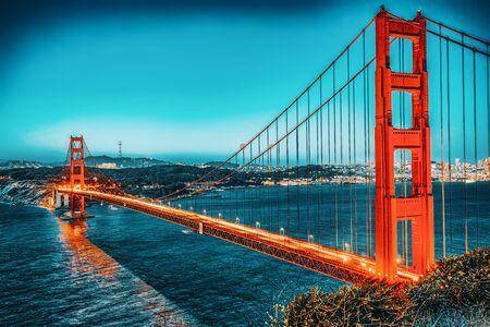 Photo for Panorama of the Gold Gate Bridge and San Francisco city at night, California, USA. - Royalty Free Image