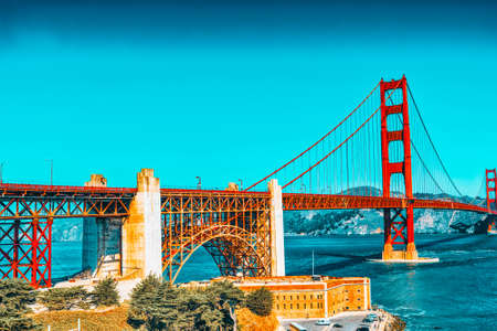 Photo for Panorama of the Gold Gate Bridge and the other side of the bay. San Francisco, California, USA. - Royalty Free Image