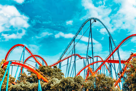 Photo for Roller Coaster in funny amusement  park. - Royalty Free Image