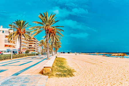 Photo for Seafront, beach,coast in Spain. Suburb of Barcelona, Catalonia - Royalty Free Image