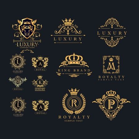 Illustration for set of luxury frame - vintage logo design vector with gold color - Royalty Free Image