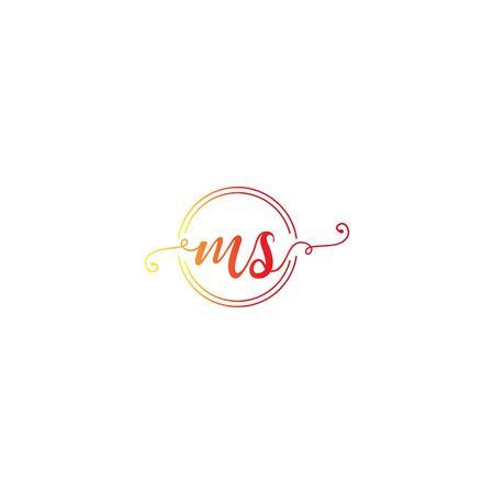 MS letter logo design vector