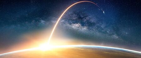 Foto de Landscape with Milky way galaxy. Sunrise and Earth view from space with Milky way galaxy. - Imagen libre de derechos
