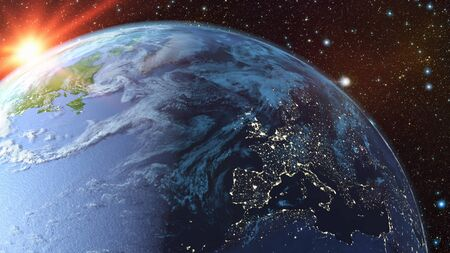 Photo pour A view of the earth from space. 3d rendering. - image libre de droit