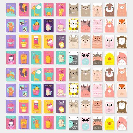 Vektor für set of cute card with animal cartoon design vector template - Lizenzfreies Bild