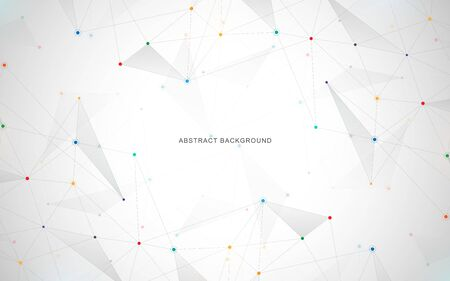 Illustration pour Geometric abstract background with connected dots and lines. Molecular structure and communication. Digital technology background and network connection - image libre de droit