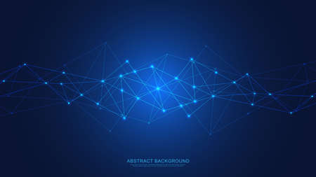 Illustration pour Abstract technology background with connecting dots and lines. Digital technology of global network connection and communication. - image libre de droit