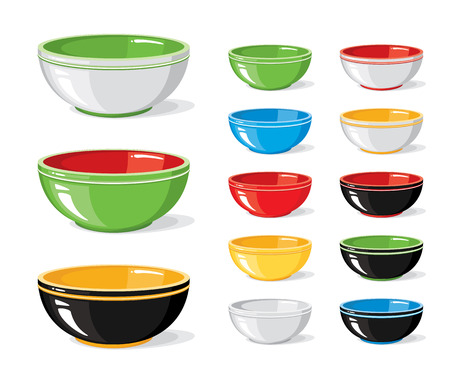 Illustration pour Vector illustration set of food icons. Different colourful empty bowls isolated on a white background. Cooking collection. Kitchen objects for your design - image libre de droit