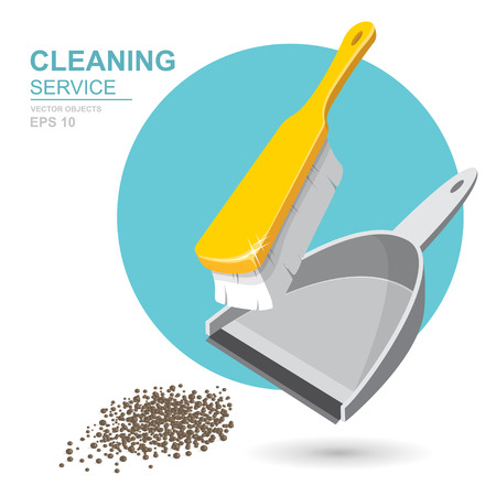 Illustration pour Vector Set of cleaning service elements. Cleaner. Cleaning supplies. Housework tools, House cleaning. Garbage, dustpan and brush. Template for banners, web sites, printed materials, infographics - image libre de droit