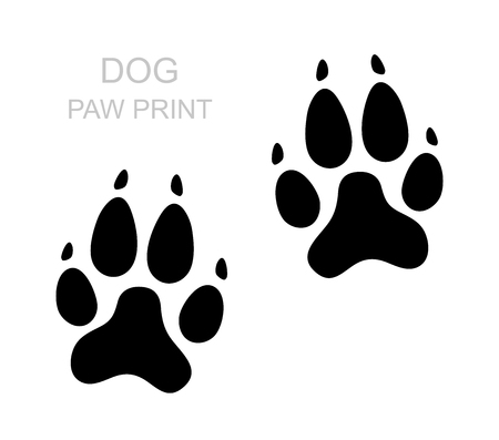 Illustration pour Dog paw. Black silhouette. Foot print. Animal paw isolated on white background. Vector illustration - image libre de droit