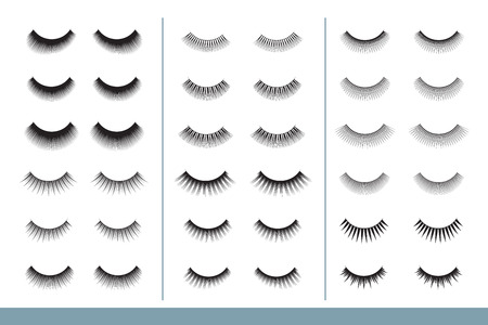 Ilustración de Lashes collection. Different Shapes of False Eyelashes. Closed Eyes. Eyelash Extension guide. Vector Illustration. Professional Glamor Makeup. Training Poster - Imagen libre de derechos