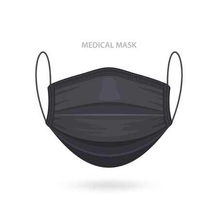 Illustration pour Black Medical or Surgical Face Mask. Virus Protection. Breathing Respirator Mask. Health Care Concept. Vector Illustration - image libre de droit