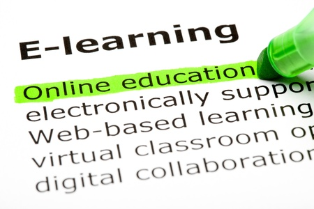 'Online education' highlighted in green, under the heading 'E-learning'