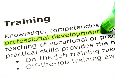 'Professional development' highlighted in green, under the heading 'Training'